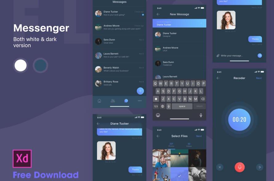 Dark Messenger App Free for XD