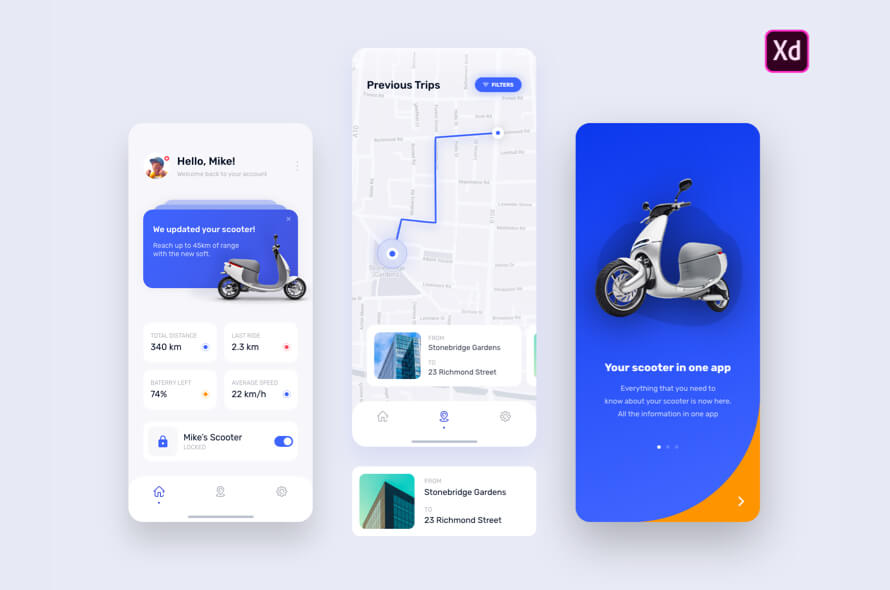 E-Scooter App for Adobe XD Free