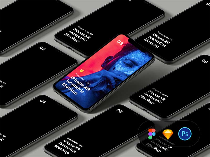 Isometric iPhone XR Mockup Free