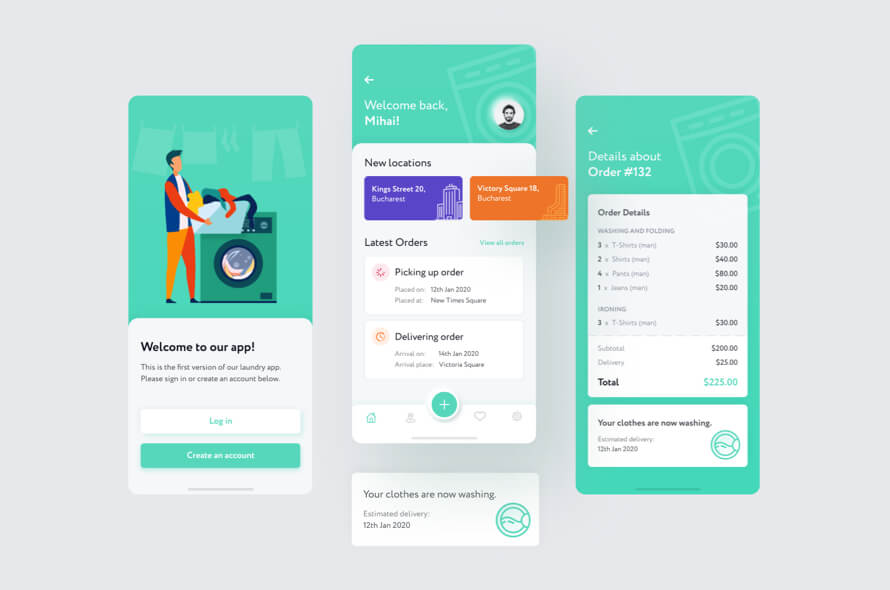Laundry App UI Kit Free
