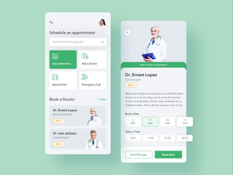 Medical Doctor App Desgin- uifreebies.net