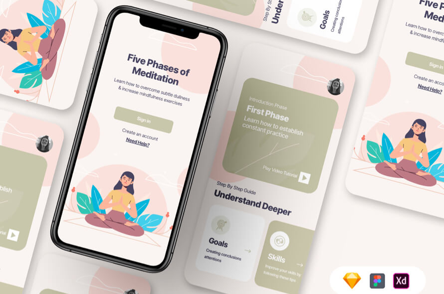 Meditation App UI Kit Free