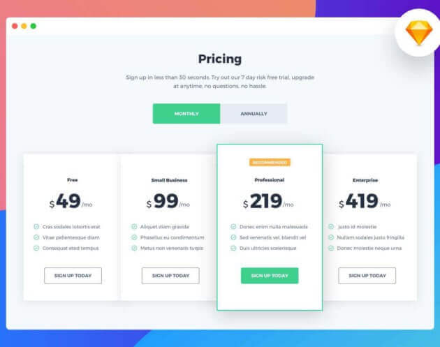 Pricing Design for Sketch Free