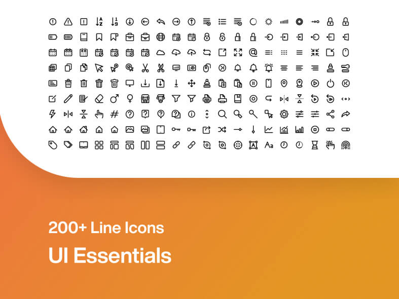 200 Line Essential Icons Free