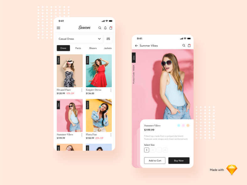 Seasons Fashion App - uifreebies.net