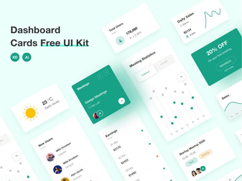 Dashboard Cards UI Kit Free