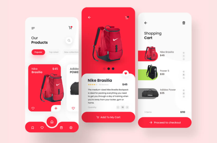 Bag Shop App Free for Figma