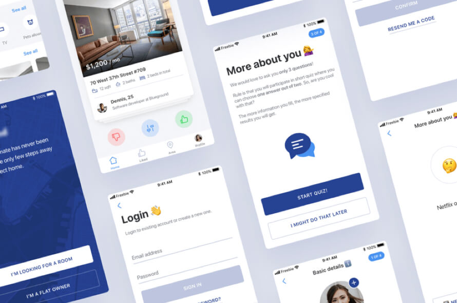 Find Roommate UI Kit Free