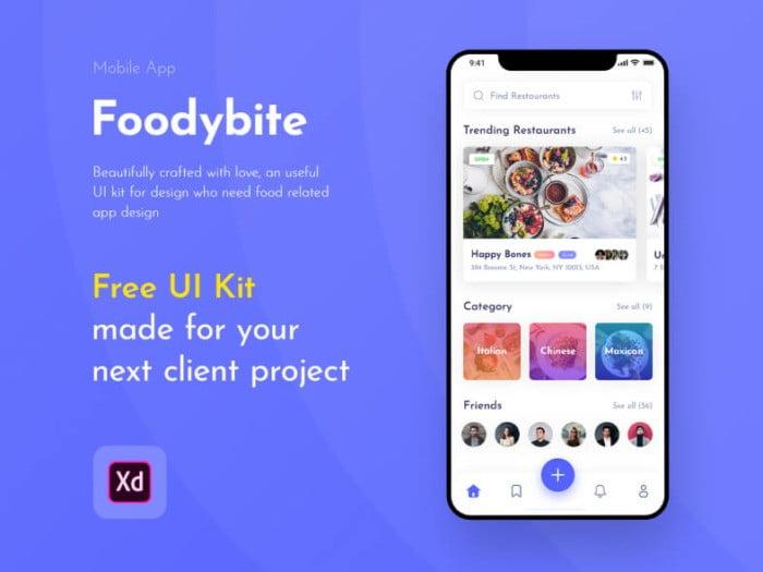 Foodybite App UI Kit Free