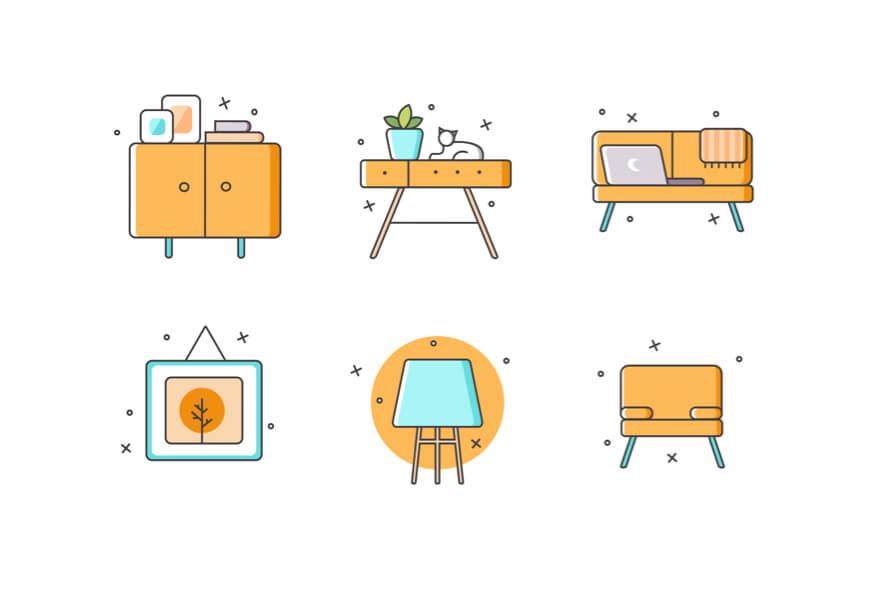 Furniture Icons Set Free