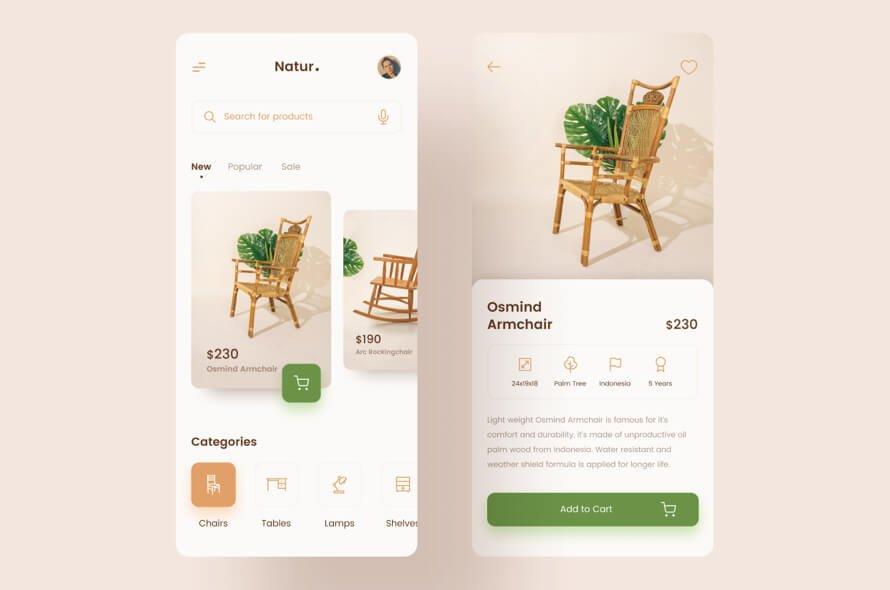 Natur Furniture App Free for Figma