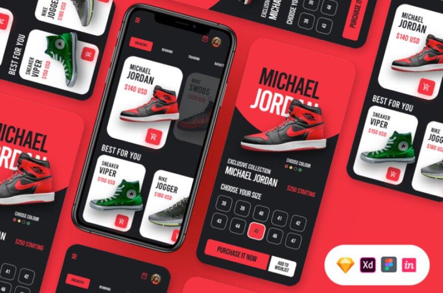 Shoes Ecommerce UI Kit Free