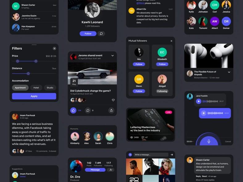 Social App UI Kit Free for Figma