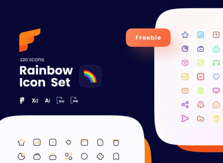 Rainbow Figma Icon Set Free - UI Freebies