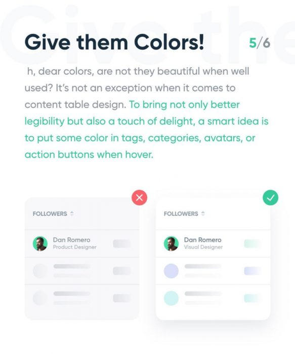 Tips for Designing Content of Table - UI Freebies