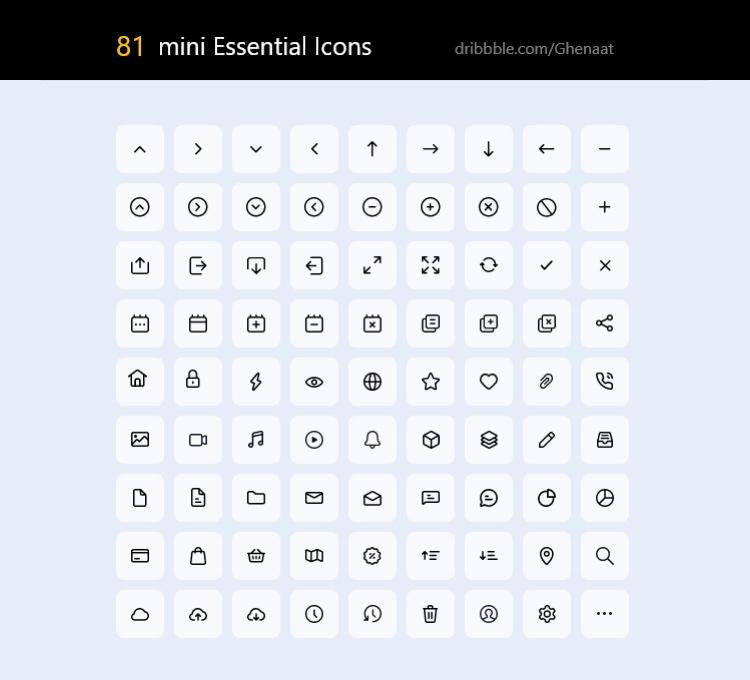 81 Essential Icon Pack Free - UI Freebies
