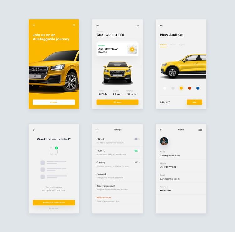 Audi Car UI Kit App Free 2 - UI Freebies
