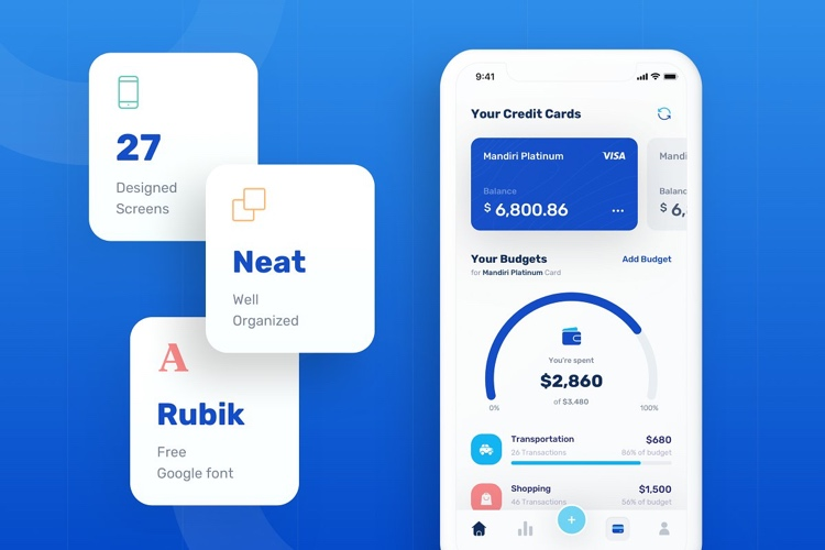 Banky Finance App UI Kit 2 - UI Freebies