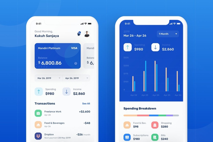 Banky Finance App UI Kit 3 - UI Freebies