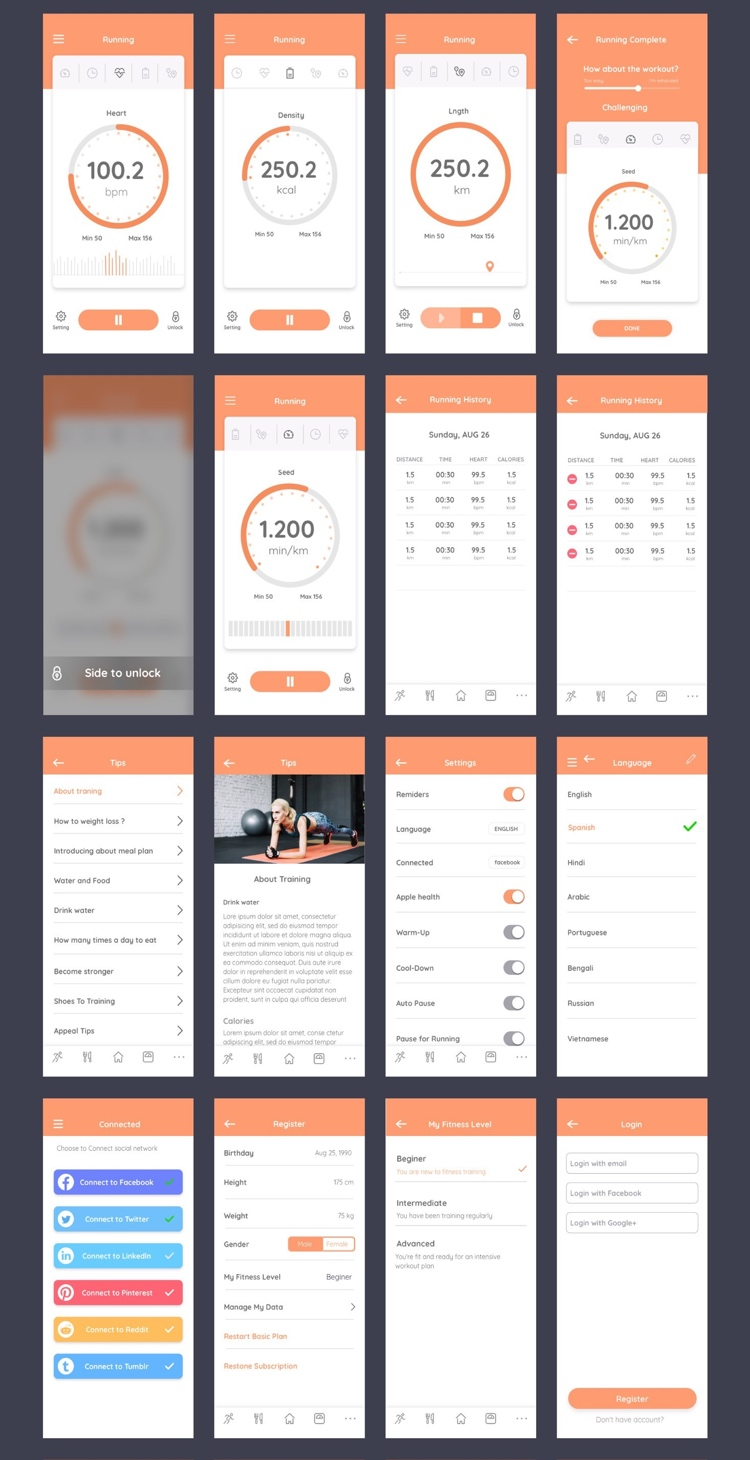 Cafit Workout App Free 3 - UI Freebies