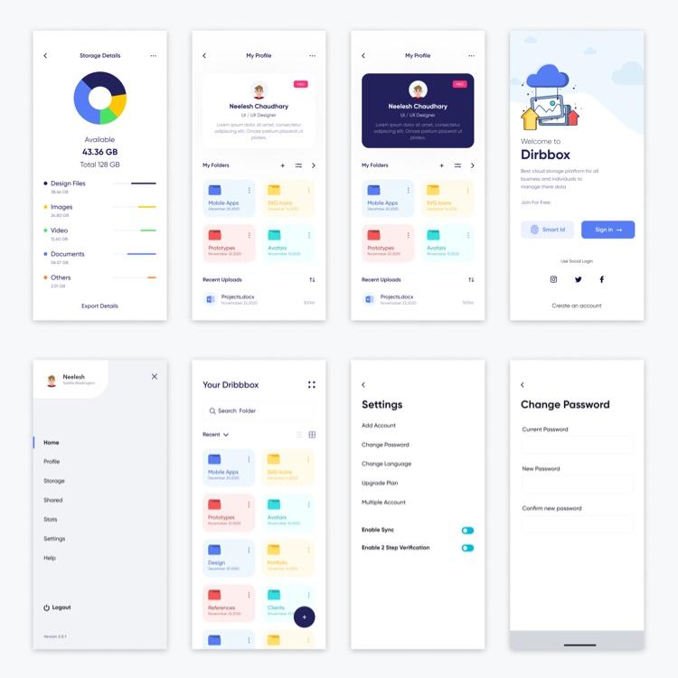 Cloud Storage App Free 2 - UI Freebies