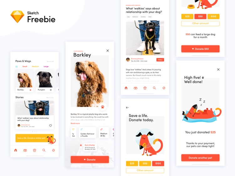 Dog Donation App Free 2 - UI Freebies