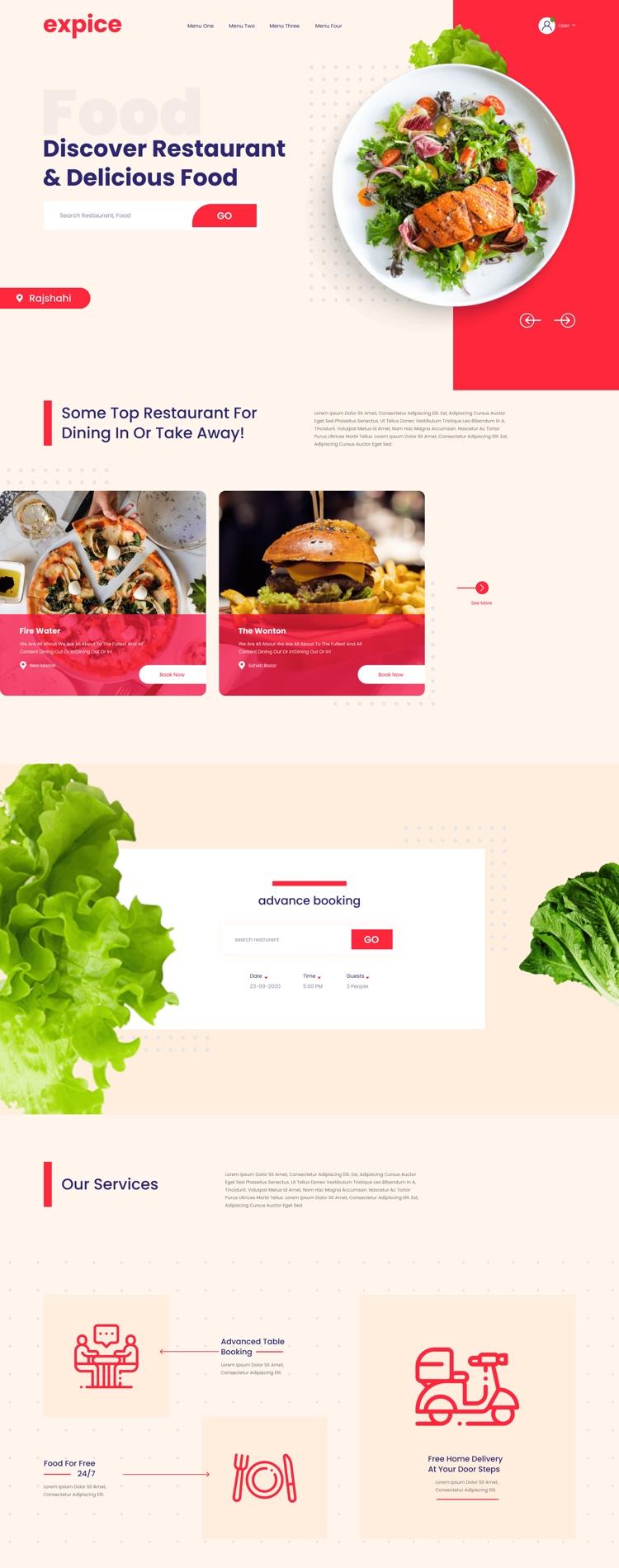 Restaurant Landing Page Design Free - UI Freebies