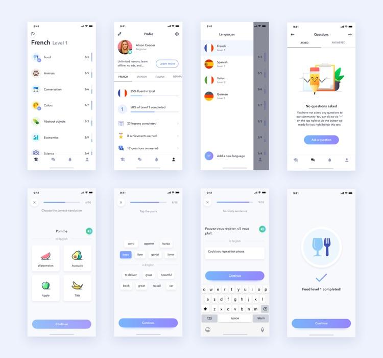Learning App UI Kit 2 - UI Freebies