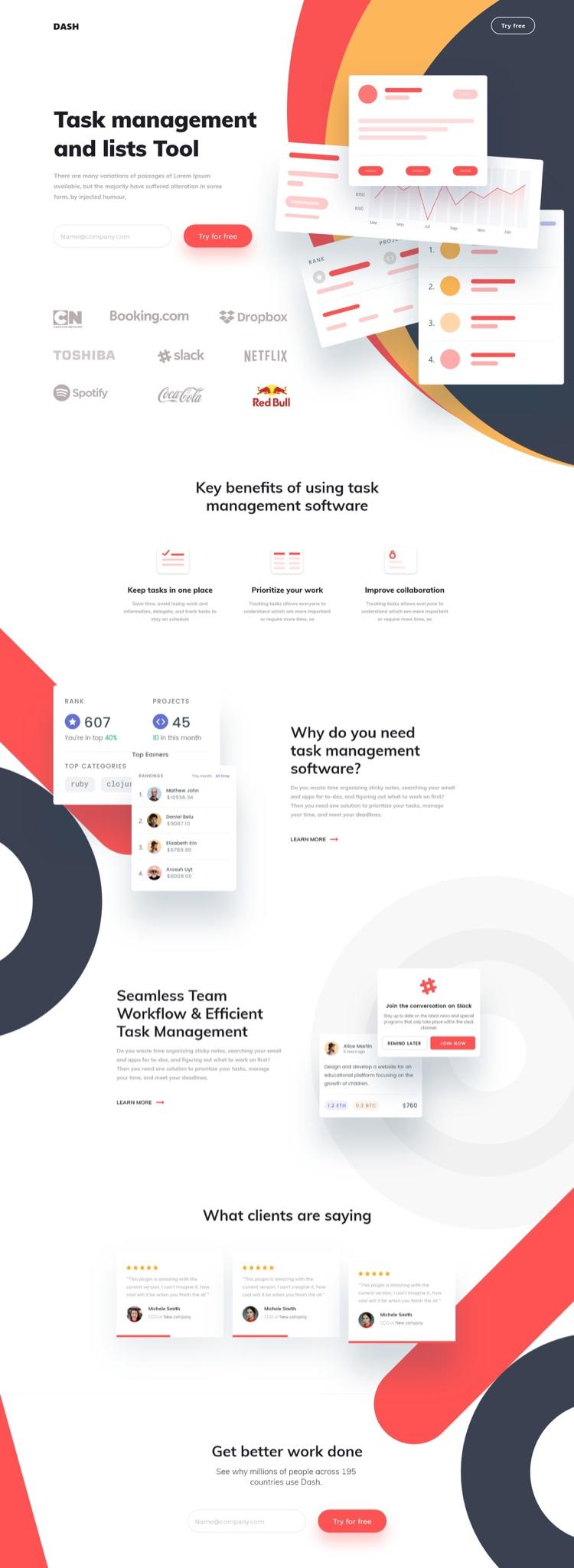 Management Landing Page Free 2 - UI Freebies