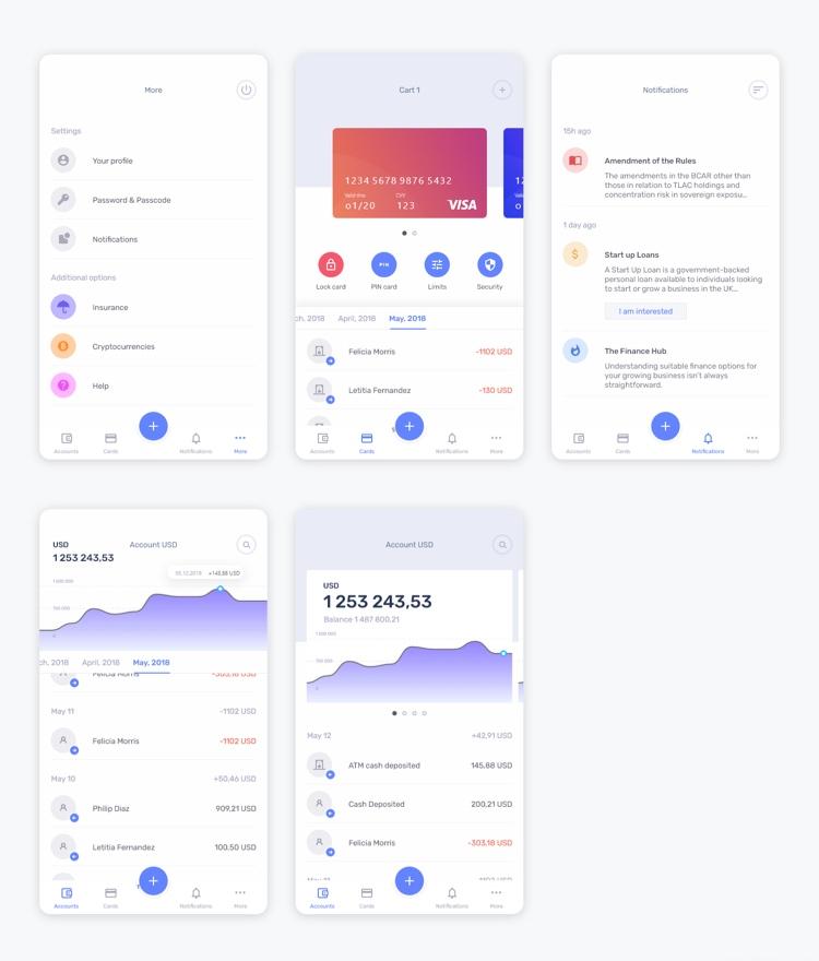 Mobile Banking App UI Kit Free - UI Freebies