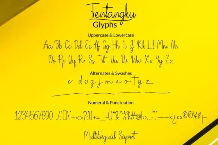 Tentangku Signature Font Free 3 - UI Freebies
