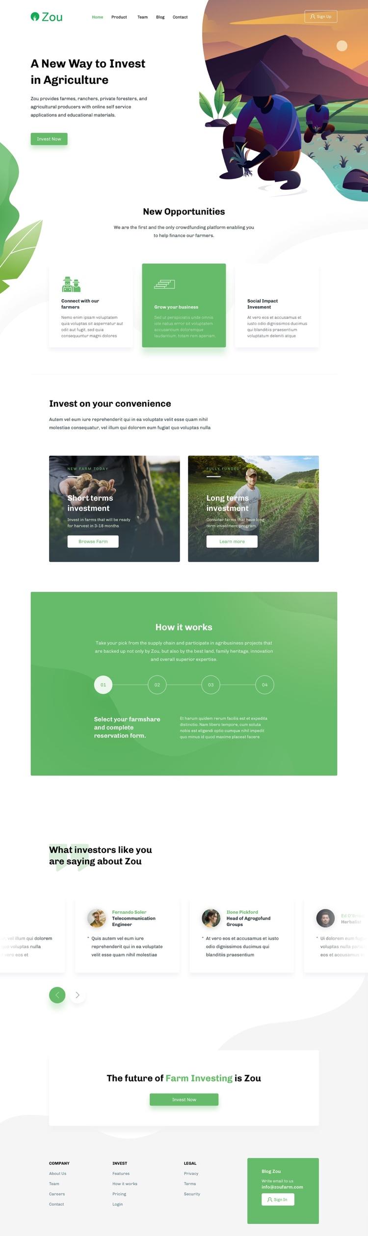 Zou Landing Page Free 2 - UI Freebies
