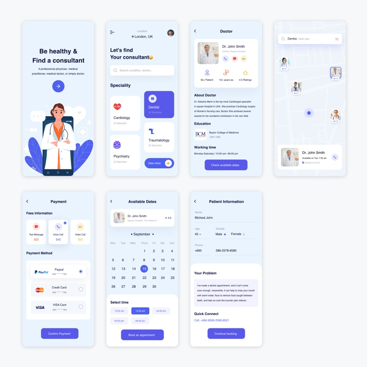 find doctor app for xd free 2 - UI Freebies