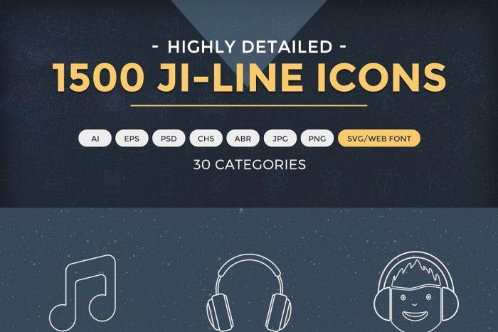 1500 Jumbo Line Icons 2 - UI Freebies