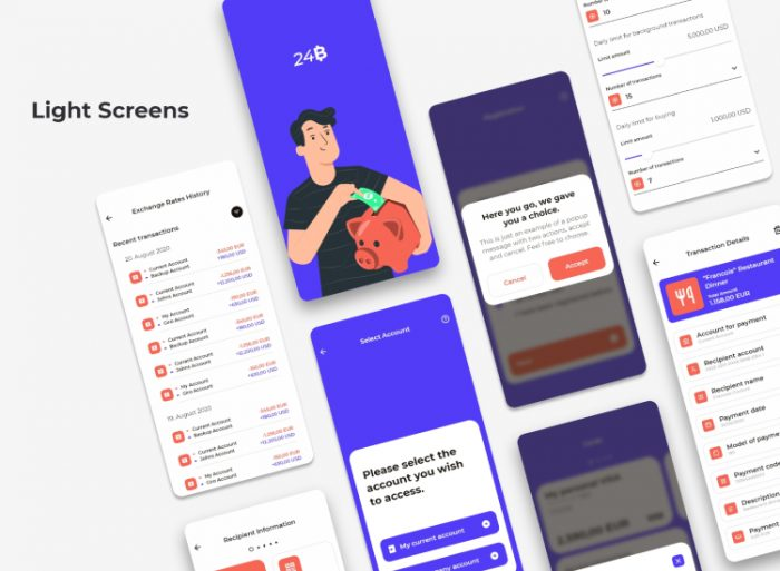 24B Bank UI Kit 3 - UI Freebies
