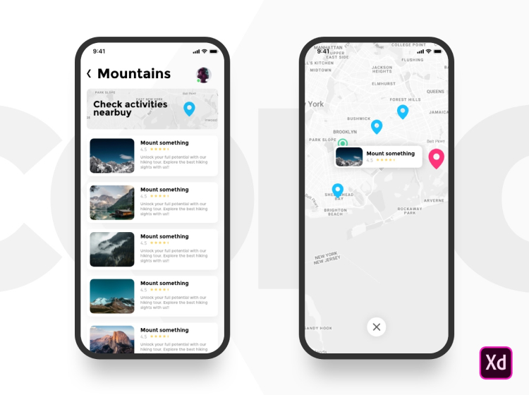 Trekking App Design Free - UI Freebies