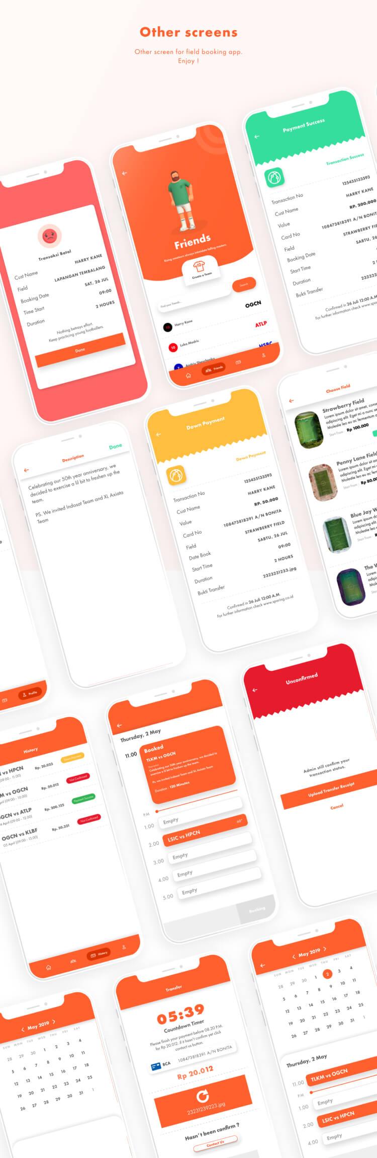 Booking Field App UI Kit 3 - UI Freebies