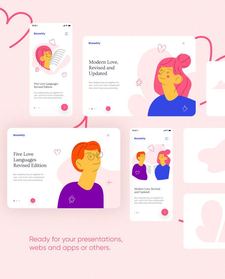 Boowkly Free Illustration Kit 2 - UI Freebies