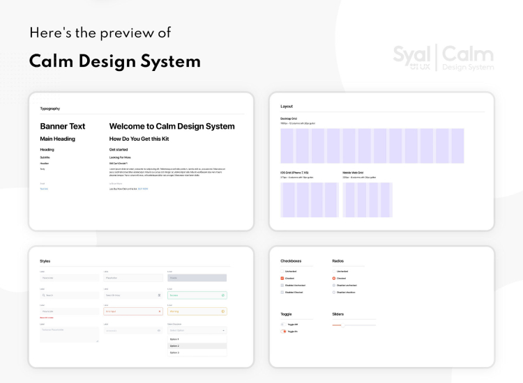 Calm Design System 2 - UI Freebies