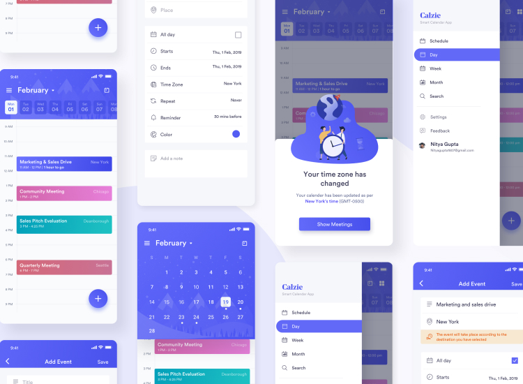 Calzie Calendar App 2 - UI Freebies