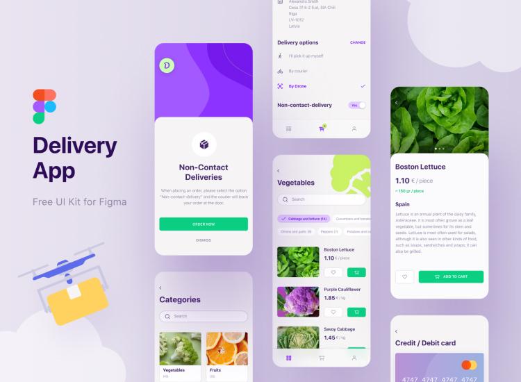 Delivery App UI Kit Figma 2 - UI Freebies