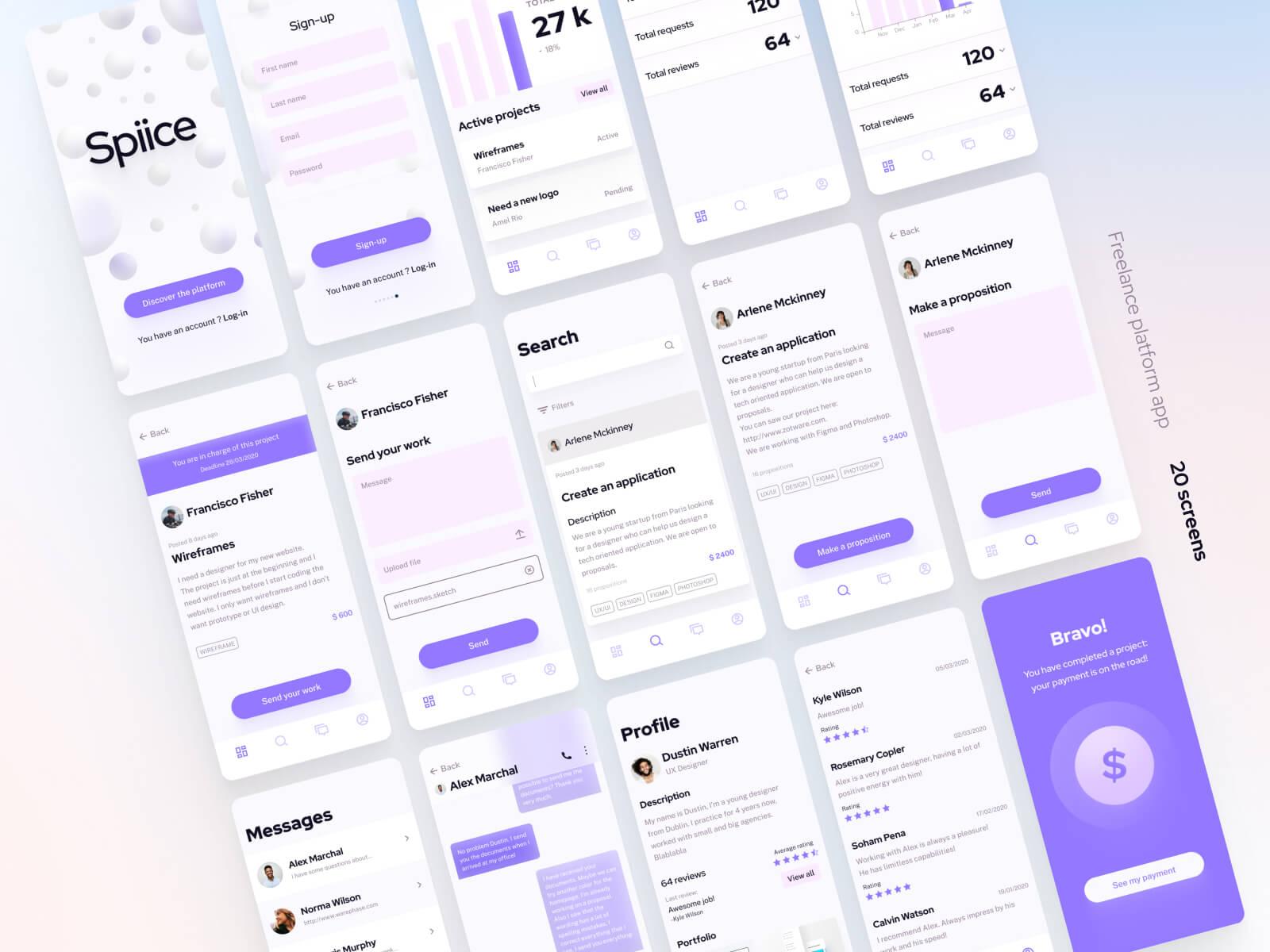 Freelance Platform App 3 - UI Freebies