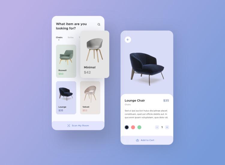 Furniture App UI Kit 2 - UI Freebies