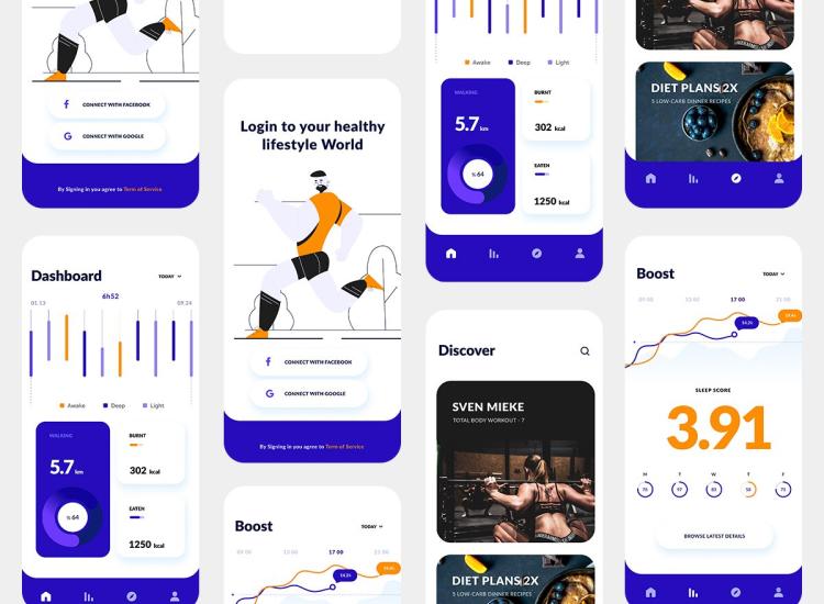 Health Fitness App 2 - UI Freebies