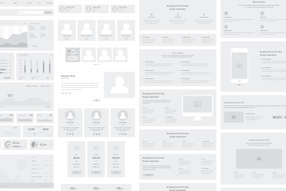 Karuki Wireframe Kit 2 - UI Freebies