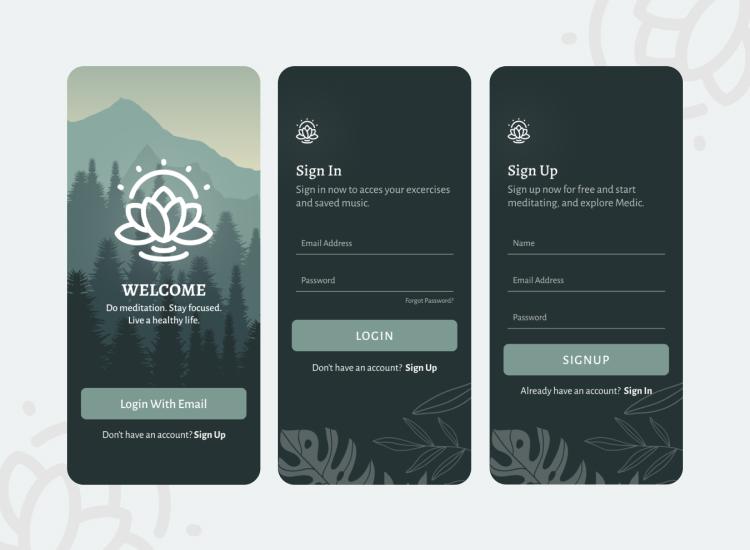 Meditation App Design Free Download - UI Freebies