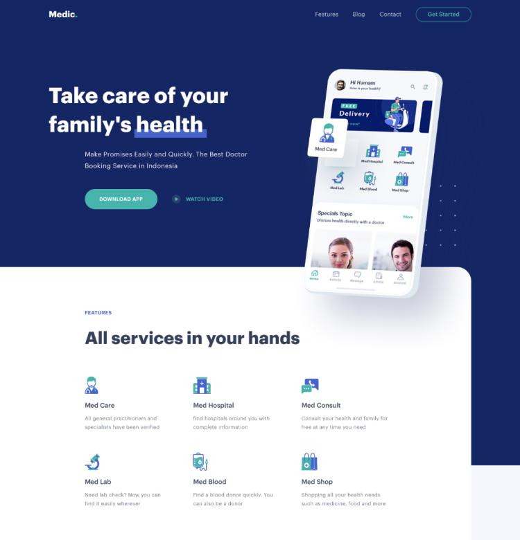 Free Medical Website Design - UI Freebies