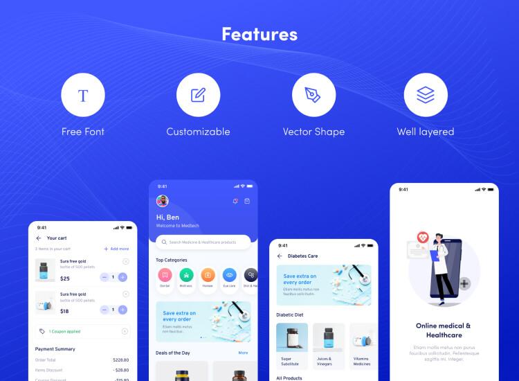 Medtech Medical Store App 2 - UI Freebies