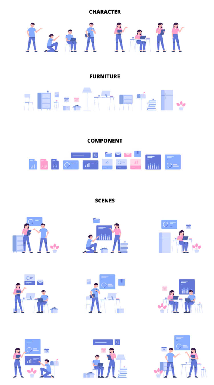 Modular Illustrations 2 - UI Freebies