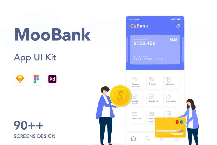 MooBank Banking App UI Kit - UI Freebies